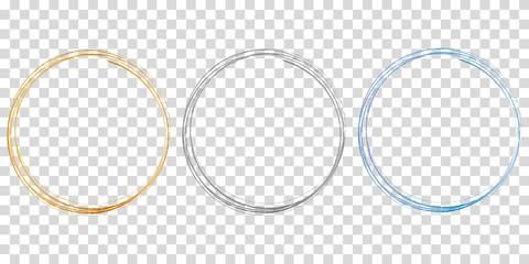 set of 3 circle frames on transparent background