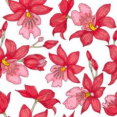 Beautiful orchid seamless pattern on white background