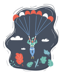 Businesswoman with parachute in the sky.