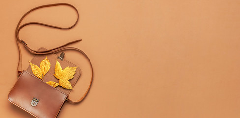 Brown leather women bag and golden autumn leaf on brown background top view flat lay copy space....