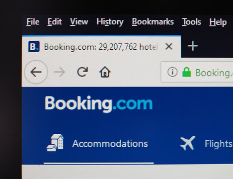 AMSTERDAM - AUG 2019: Booking.com sign on website