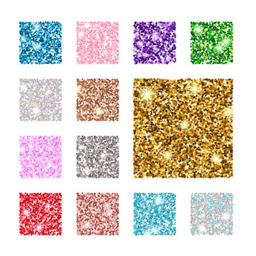Set square color glitter texture pattern. Gold, silver, red, pink, blue, green, purple.