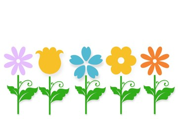 Cartoon doodle flower illustration with cheerful colours for children