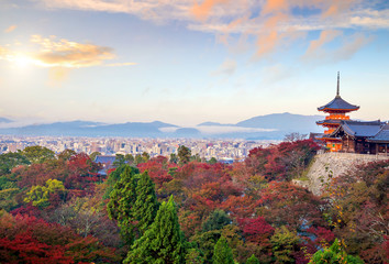 Autumn Color of Kyoto skyline and Kiyomizu-dera Temple in Kyoto