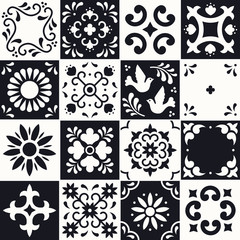 Mexican talavera pattern. Ceramic tiles with flower, leaves and bird ornaments in traditional style from Puebla. Mexico floral mosaic in black and white. Folk art design.