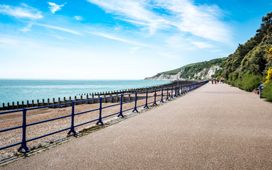 Eastbourne promenade and the South Downs, England Wall mural