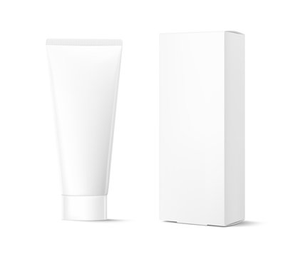 Blank plastic tube for cosmetics with cardboard box mockup.  Front view. Vector illustration isolated on background. Can be use for your design, advertising, promo and etc. EPS10.