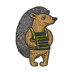 Hedgehog in flak jacket body armor color sketch engraving vector illustration. Scratch board style imitation. Black and white hand drawn image.