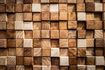 Obraz Wooden square blocks wall texture background - fototapety do salonu