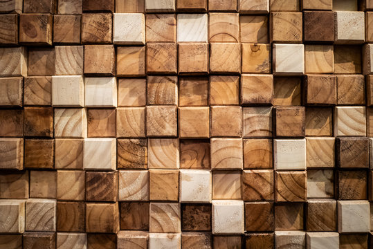Wooden square blocks wall texture background