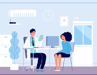 Patient in doctor office. Physician medical consulting. Diagnosis treatment patients in hospital, healthcare vector concept. Diagnosis patient and care, treatment healthcare