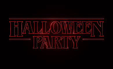 Halloween Party text design, Halloween word with Red glow text on black background. 80's style, eighties design. Vector illustration