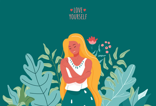Love yourself vector illustration. Smiling woman hug herself. Body care design concept for print card, poster with motivational text words and floral green, pink elements. On dark background