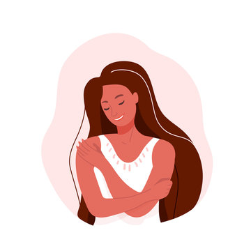 Love yourself vector illustration. Smiling woman hug herself. Body care design concept isolated on white background