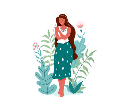 Love yourself vector illustration. Smiling woman hug herself. Body care design concept. Floral nature elements