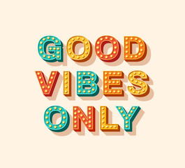 Aluminium Prints Positive Typography Good vibes only motivational poster