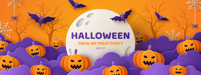 Halloween paper cut orange banner Fotoväggar