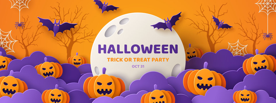 Halloween paper cut orange banner