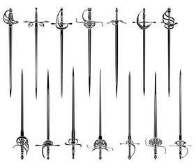 Set of simple monochrome images of epees and rapiers.
