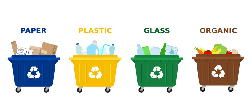 Different colored trash dumpsters with paper, plastic, glass and organic waste suitable for recycling. Segregate waste, sorting garbage, waste management. White background. Vector illustration, flat.
