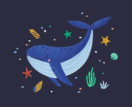 Happy smiling whale isolated on dark background. Adorable ocean animal, joyful wild marine mammal, cute sea world dweller, lovely underwater creature. Flat cartoon childish vector illustration.