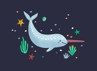 Wall Mural - Funny smiling narwhal isolated on dark background. Happy ocean animal, joyful wild marine mammal, pretty sea world dweller, cute underwater creature. Flat cartoon childish vector illustration.