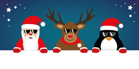 cute reindeer santa claus and penguin cartoon with sunglasses for christmas vector illustration EPS10