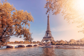 Wall Mural - Paris city with Eiffel tower in autumn