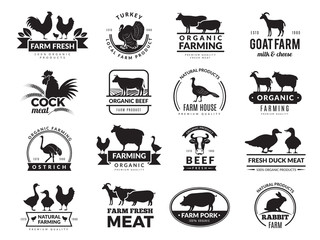 Farm animals. Business logo with domestic animals cow chicken goat healthy food symbols vector farm collection. Cow silhouette, chicken and sheep meat illustration Wall mural