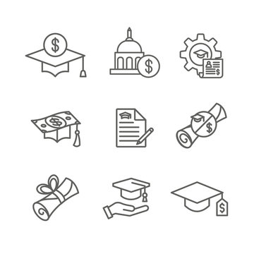 Student Loans Icon Set with Academic Scholarships & Debt Imagery