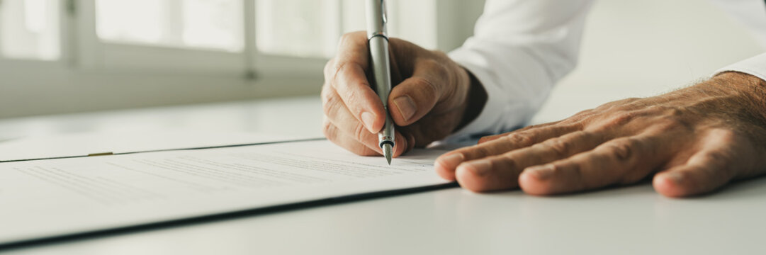 Signing a document or contract