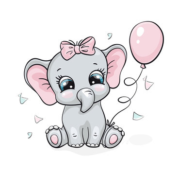 Elephant, baby cute print. Sweet tiny girl with bow, ballon, confetti. Cool african animal illustration
