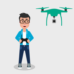 Young happy man flying drone with remote control. Smiling character controls aerial drone with a camera. Operating a drone to take pictures or video. Vector illustration, flat style, clip art.