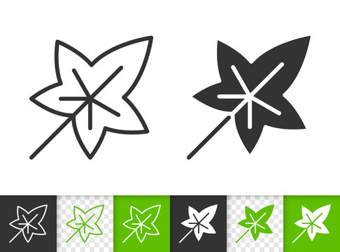 Green leaf of tree simple black line vector icon