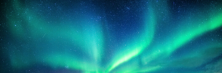 Aluminium Prints Northern lights Aurora borealis, Northern lights with starry in the night sky