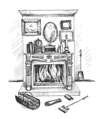 Hand drawn doodle fireplace and decor