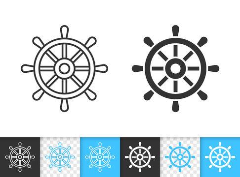 Wheel ship helm simple black line vector icon