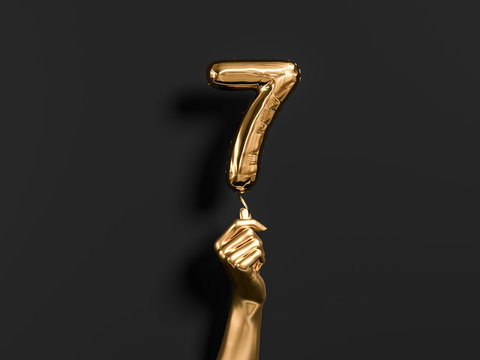 Seven year birthday. Golden hand holding Number 7 foil balloon. Seven-year anniversary background. 3d rendering