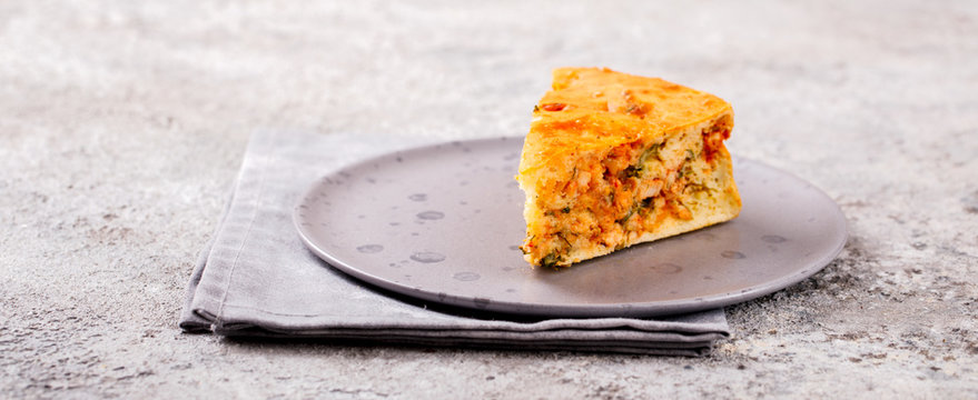 Meat pie with vegetables. Snack. Homemade baking.