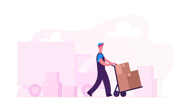 Relocation and Moving into New House Concept. Worker Wearing Uniform Pushing Trolley with Cardboard Boxes Unloading Truck. Professional Delivery Company Loader Service Cartoon Flat Vector Illustration