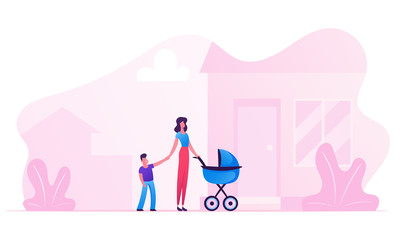 Young Woman with Baby Stroller Holding Hand of Little Son Stand in front of Doorstep of New House. Happy Family of Mother and Children Walking in Home Yard, Parenting Cartoon Flat Vector Illustration