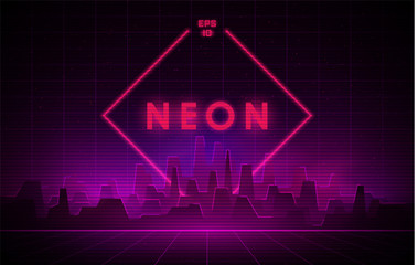 Retrowave night city with laser grid and big neon rhombus on background. Futuristic cityscape with glowing neon pink and purple lights and fog on dark background. Fotomurales
