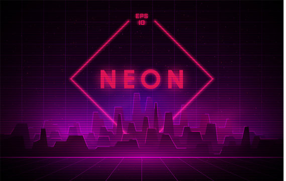 Retrowave night city with laser grid and big neon rhombus on background. Futuristic cityscape with glowing neon pink and purple lights and fog on dark background.