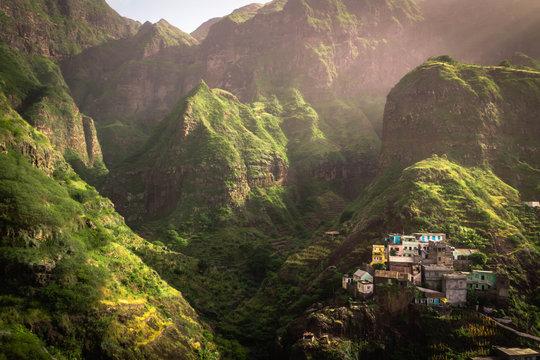 Fontainhas, kleiner Ort auf Santo Antão, Cape Verde, West Africa