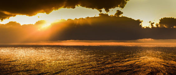 Sunrise over the sea and beautiful cloudscape 3d rendering