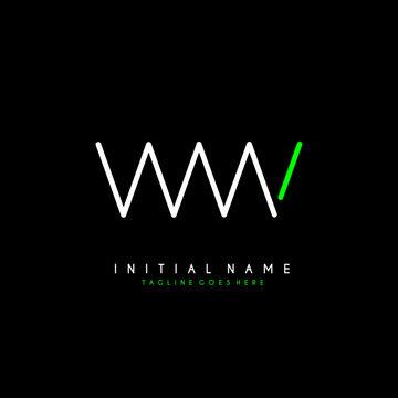 Initial W WW minimalist modern logo identity vector