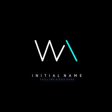 Initial W A WA minimalist modern logo identity vector
