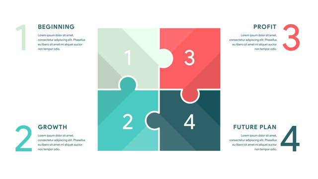 Vector Jigsaw or Puzzle for Business infographics concept with 4 options, parts, steps, processes. 16x9 slide clean white template