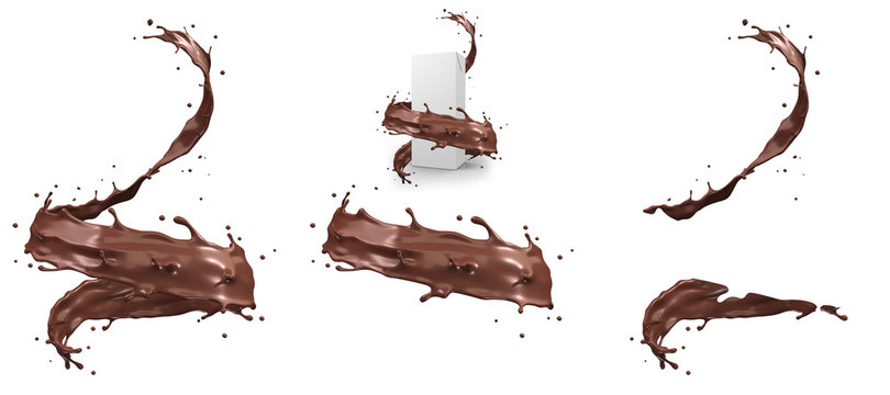 Hot chocolate splash in spiral shape with clipping path,3d rendering