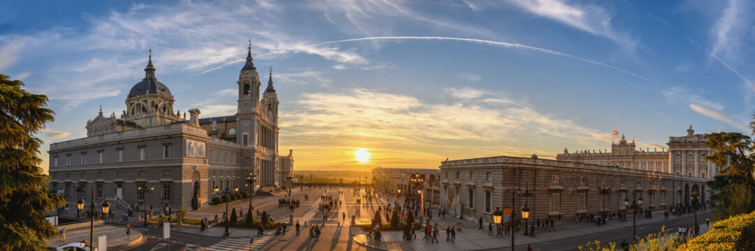 Madrid Spain panorama city skyline sunset at Cathedral de la Almudena